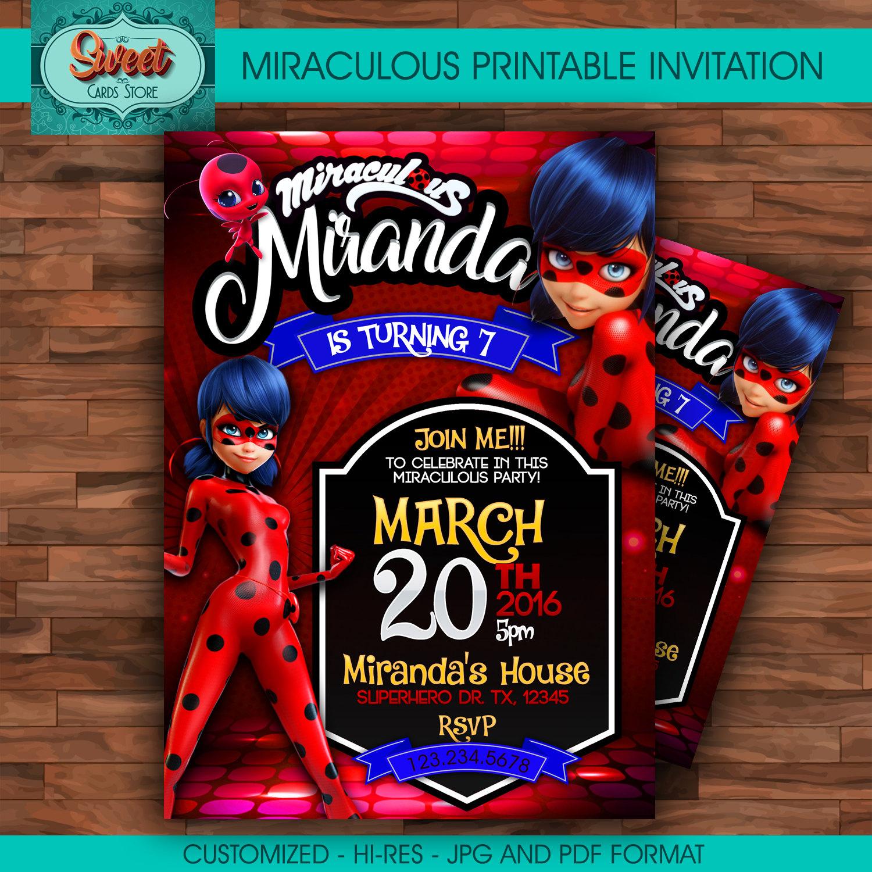Miraculous personalized digital invitation miraculous ladybug | Etsy