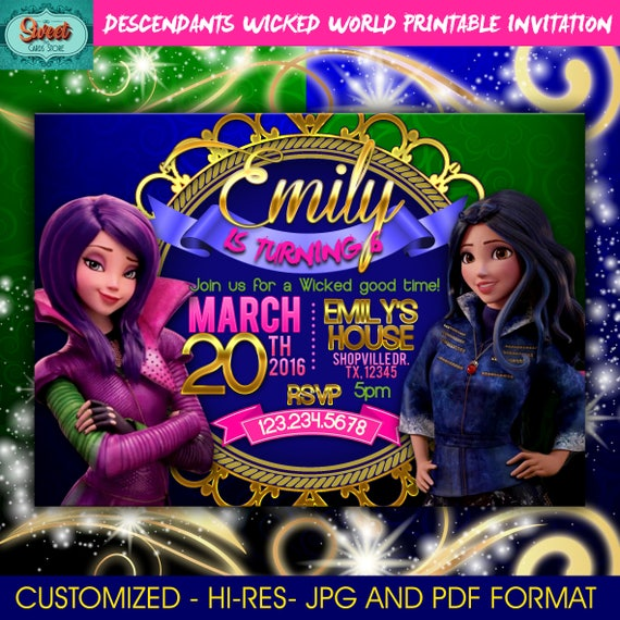 Disney Descendants Wicked World Birthday Invitation
