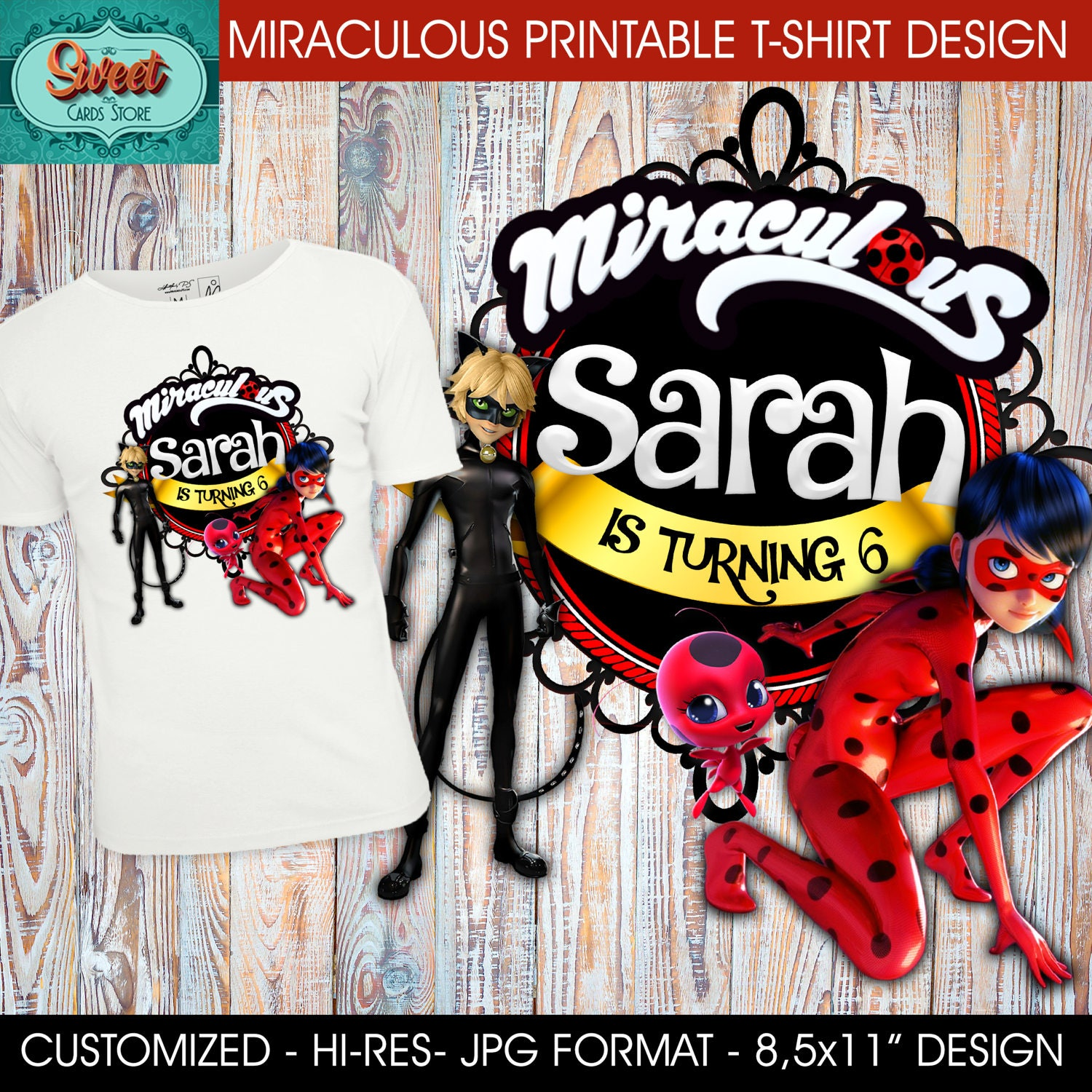 Miraculous Printable Digital T Shirt Design Miraculous Etsy
