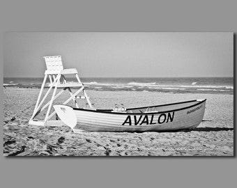 2a029ed04f2 Avalon NJ Lifeboat Photo Art Print Photography Design Decor Boat Beach  House Lifeguard Rescue Safety Swim Jersey Shore Note Card Canvas