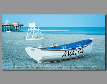 ae6a57a6a54 Avalon NJ Lifeguard Boat Framed Canvas Art Print Photo Photography Design  Decor Boat Beach House Rescue Safety Swim Jersey Shore Note Card