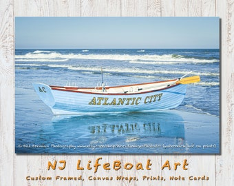 Atlantic City NJ Lifeboat Framed Canvas Art Print Photography Decor Boat Beach House Lifeguard Rescue Safety Swim Jersey Shore Note Card
