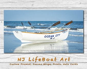 Ocean City NJ Lifeboat Framed Canvas Art Print Photography Design Decor Boat Beach House Lifeguard Rescue Safety Swim Jersey Shore Note Card