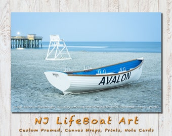Avalon NJ Lifeboat Framed Canvas Art Print Photography Design Decor Boat Beach House Lifeguard Rescue Safety Swim Jersey Shore Note Card
