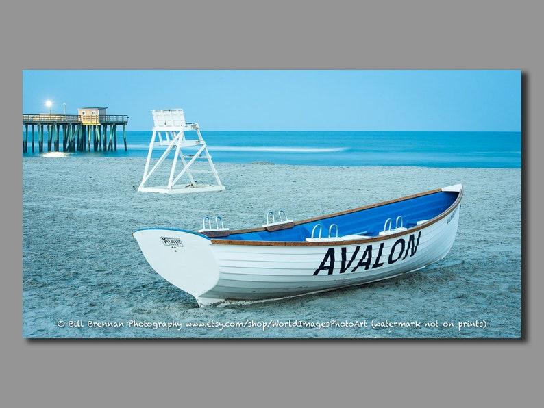 Avalon NJ Lifeguard Boat Framed Canvas Art Print Photo Photography Design  Decor Boat Beach House Rescue Safety Swim Jersey Shore Note Card