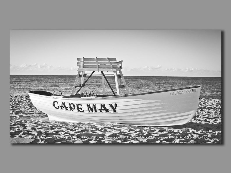 Cape May NJ Lifeboat Framed Canvas Art Print Photography B&W Sepia Decor  Boat Beach House Lifeguard Rescue Safety Jersey Shore Note Card