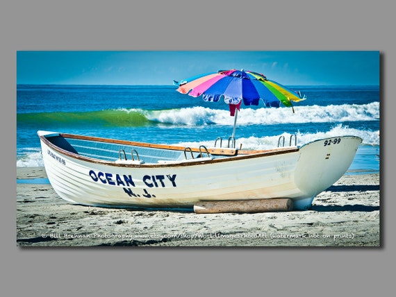 Ocean City Nj Lifeboat Framed Canvas Art Print Photography Etsy