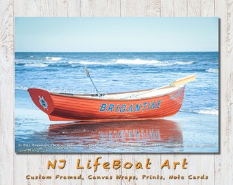 Brigantine NJ Lifeboat Framed Canvas Art Print Photography Design Decor Boat Beach House Lifeguard Rescue Safety Swim Jersey Shore Note Card