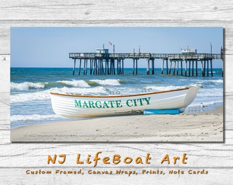 Margate NJ Lifeboat Framed Canvas Art Print Photography Design Decor Boat Beach House Lifeguard Rescue Safety Swim Jersey Shore Note Card