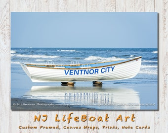 Ventnor NJ Lifeboat Framed Canvas Art Print Photography Design Decor Boat Beach House Lifeguard Rescue Safety Swim Jersey Shore Note Card