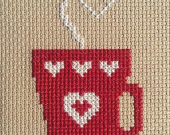 Latte Love cross stitch pattern