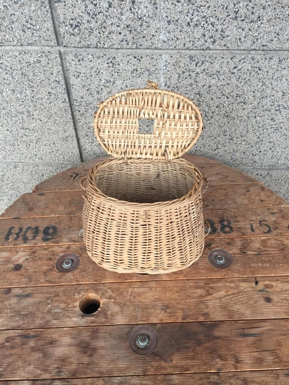 Vintage Wicker Basket, Retro Basket, Storage Baske