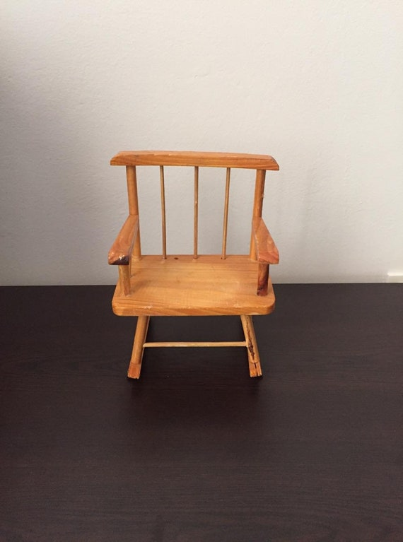 Outstanding Vintage Wooden Rocking Chair Mini Chair Rocking Chair Wooden Chair Miniature Furniture Tiny Chair Small Chair Squirreltailoven Fun Painted Chair Ideas Images Squirreltailovenorg