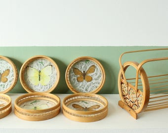 Butterfly and bamboo coaster set / Vintage rattan coasters with real butterflies / vintage tiki coasters