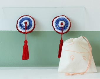 Françoise the french girl nipple pasties / patriotic breast jewelry / exotic dance burlesque sequin pasties / gift for her