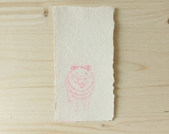 Pink Spitz dog etching / spitz pomeranian / dog lover gift tag / bookmark / sweet nothing / gift note