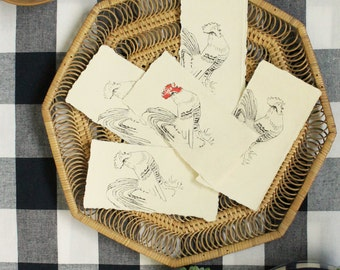 Mini etchings for the year of the rooster, handprinted bookmark, french rooster