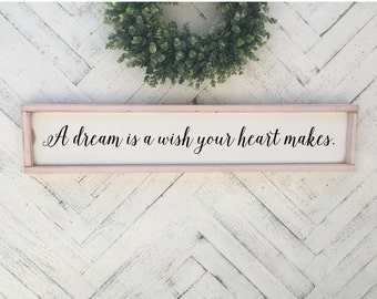 A Dream Is Wish Your Heart Makes Cinderella Quote Sign