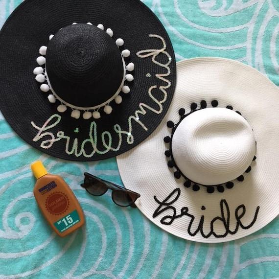 0761e03d84f75 Bride Floppy Hats Bridesmaid Floppy Hat Bachelorette Party