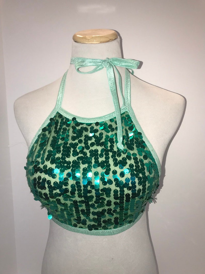 Emerald Dreams Multiple-Way Sequin Top  Green Sequins  Gold image 0