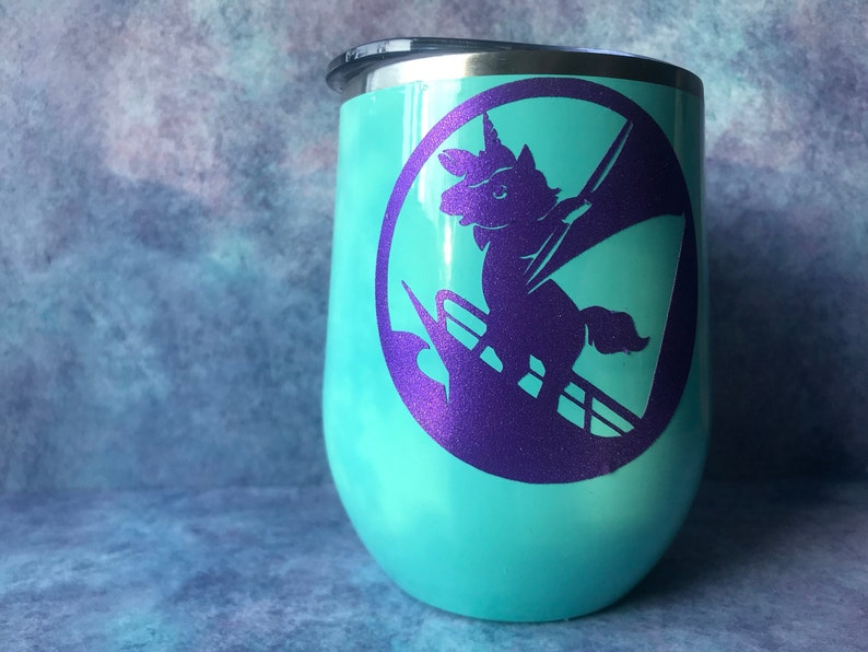 Sailing Unicorn wine glass  insulated wine glass  metal wine image 0