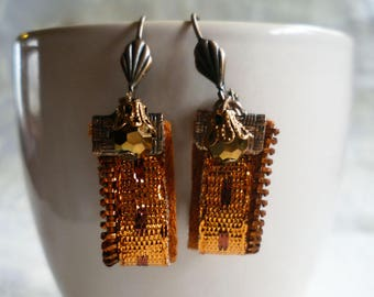 """Earrings """"zip"""" copper and small copper charm"""