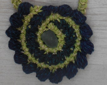 Necklace Freeform Crochet With Seaglass
