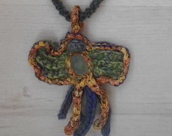 Necklace Freeform Crochet Sea Glass