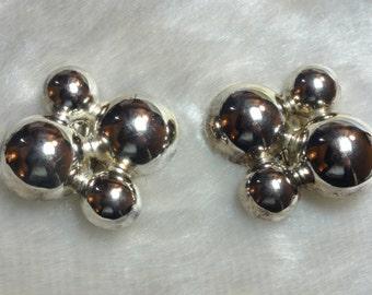 Retro Metal Spheres Earrings Abstract Earrings Unusual Earrings Silver Tone Ball Earrings Astro Earrings