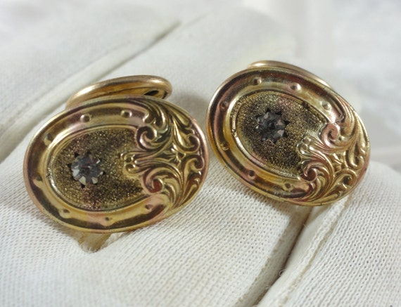 Antique French Cuff Links Art Nouveau Cuff Links A