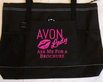 335e407d2169 Avon Lady Tote bag purse black pink red lips lightweight  beautyboss  Representative pockets large custom direct sales mascara FREE DECAL