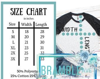 Next Level 6051 Raglan Size Chart   2x 3x   Fabric Content   Unisex Tshirt Measurement Guide   3 color choices