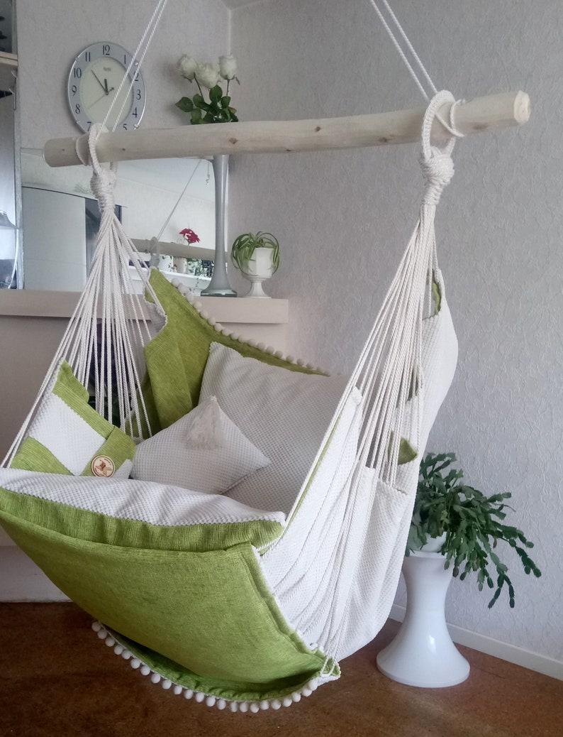 Hammock Chair White Green