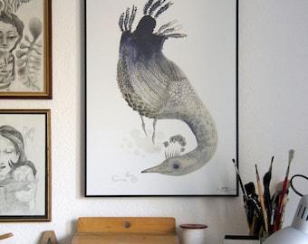 "A2 Print | ""The Playful Tweed & Earthworm"""