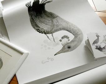 "A1 Print | ""The Playful Tweed & Earthworm"""