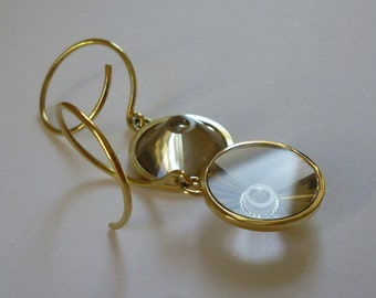 "Earrings ""Loop"" 750 yellow gold with smoky quartz"