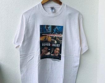 2ab028f7a Vintage Original 90s Romeo + Juliet American Romantic Crime Movie 1996 Leonardo  Dicaprio & Claire Danes T-Shirt M White