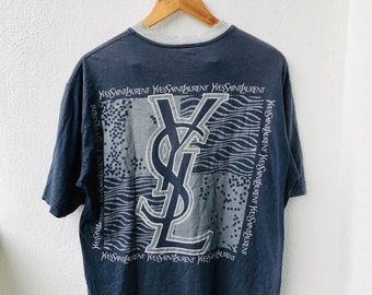 83feb799 Vintage YSL Yves Saint Laurent Big Logo Designs OG Lolife 90s Luxury  Fashion Style T-Shirt