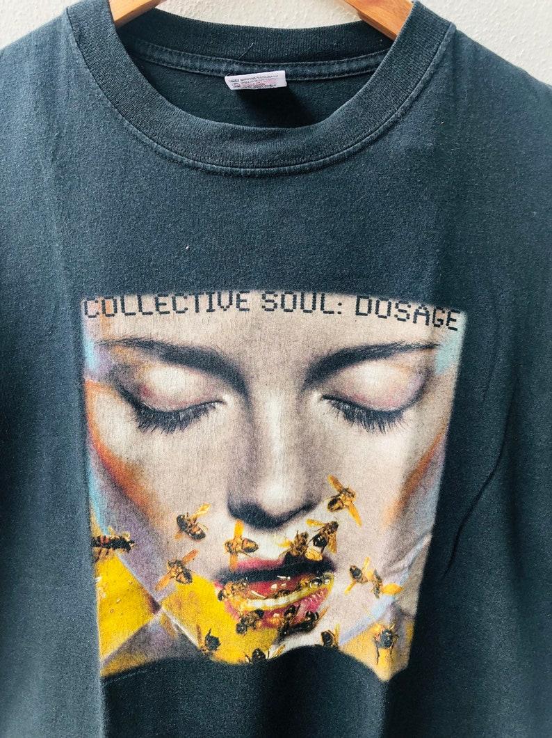 Vintage Original 90/'s Collective Soul  Dosage 1999  American Post-Grunge Music  Promo T-Shirt L Black