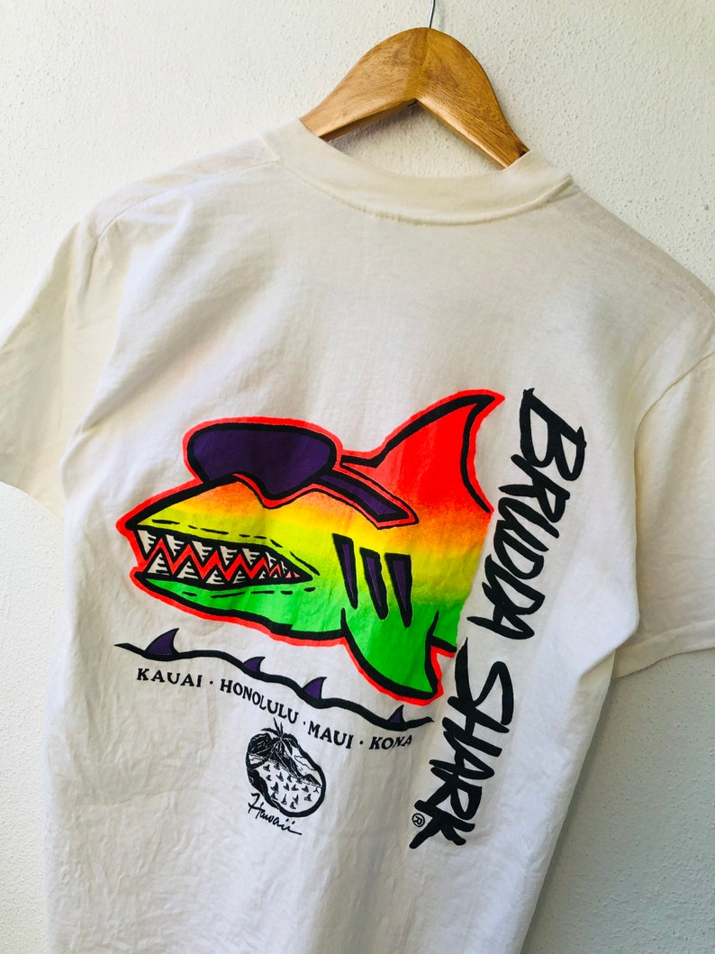 Vintage 80\u2019s Brudda Shark \u201c Hawaiian Surf Clothing Brand T-Shirt