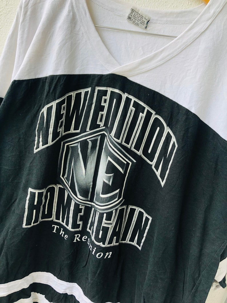 Vintage Original 90\u2019s New Edition \u201c Home Again 1996 \u201c American R/&BPop Group by MCA Records Offcial Merchandise Raglan Design T-Shirt