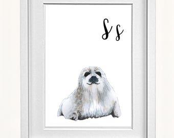 Animal Alphabet, Seal Print, Animal Prints for Nursery, ABC letters, Alphabet Print, Alphabet Letters
