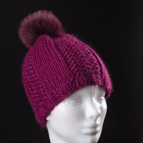 Inspirations Ladies Fluffy Faux Fur Pom Beanie HatWomens Knitted Bobble Cap