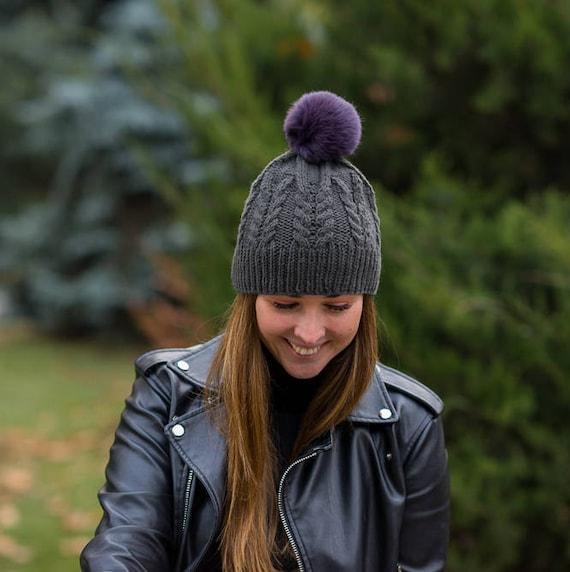 c7fd2583a1b91b Violet Rabbit Fur Pom pom hat Knit mens Gift for brother idea | Etsy