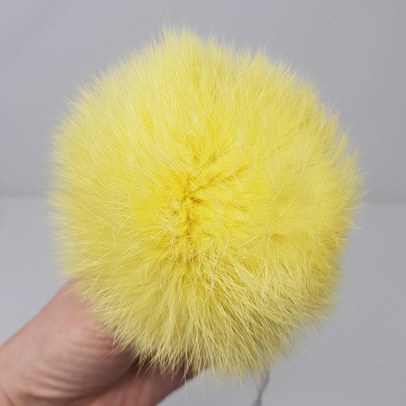 68db48c6b4e5 Yellow Real fur Bobble Large pom pom Fur ball Top pom pom Real | Etsy