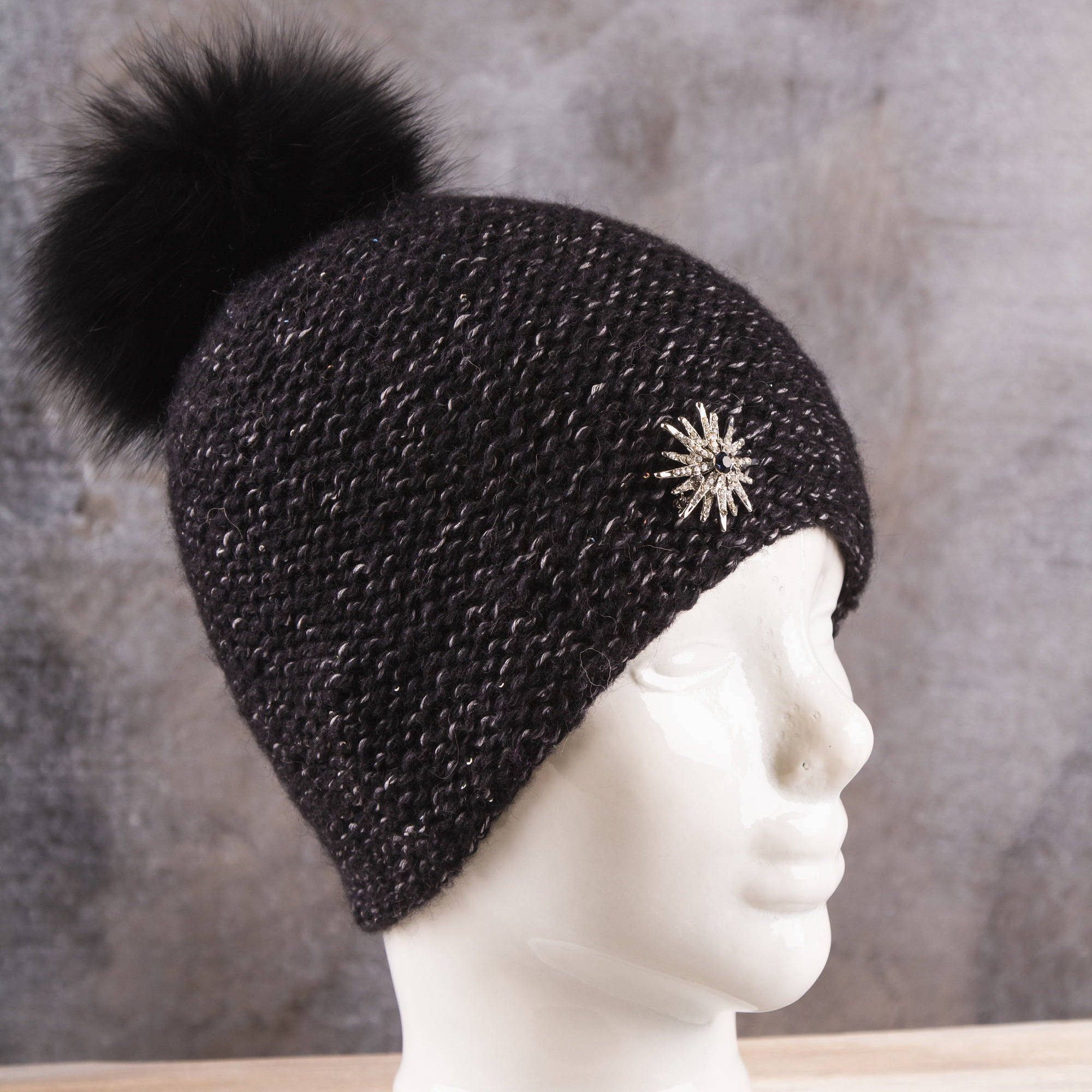 Knit women black hat beanie Black women chunky Women black  0815efd7284