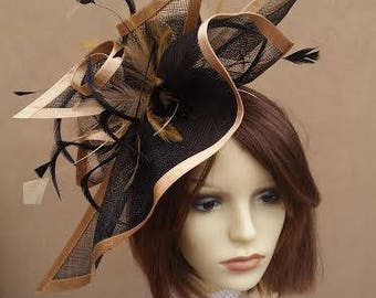 73f8957873be8 Gold   Black Feathered Fascinator