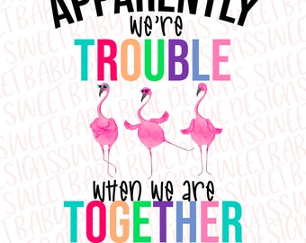 Apparently we're trouble when we are together- Flamingo- Summer- Digital instant Download - PNG clipart