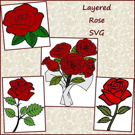 Dessins De Rose Rose Layered Design De La Saint Valentin Etsy