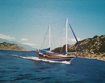 Óleo sobre lienzo. Viaje en barco.